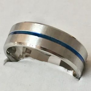 Other - Sz 11 Thin Blue Line Stainless Steel Band/Ring